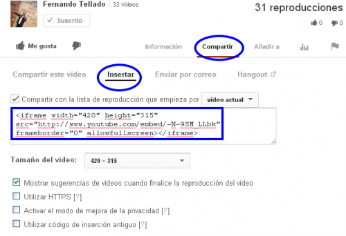 codigo iframe youtube para insertar en wordpress